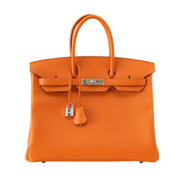 HERMES BIRKIN 35 bag Signature H Orange epsom palladium