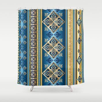 Blue and Gold Fleur de Lis Pattern Shower Curtain by Robin Curtiss