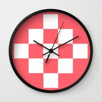 Coral Pattern with White Squares Wall Clock by Lena Photo Art | Society6