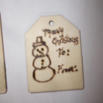 BOGO Sale Set of 8 Rustic Woodburned Christmas Wooden Gift Tags Unique Reusable Free Shipping Hand Drawn Buy Handmade