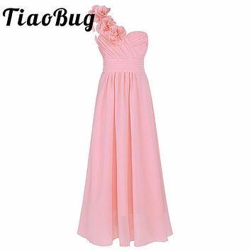 4-14Y Girls Dress Formal Party and Wedding Bridesmaid Maxi Dress with Flower Kids Girls Summer Chiffon One-shoulder Dress