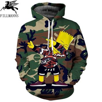 2018 new large size 3D Hoodie simpsons anime Camouflage full sleeve men women Hoodies Sweatshirts 3d hoodie Sweatshirt for men
