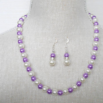 Ivory and purple Pearl set, Bridesmaid set, Gift for wife, Etsy jewelry, Jewelry set, Mother of the groom, Gift for daughter,