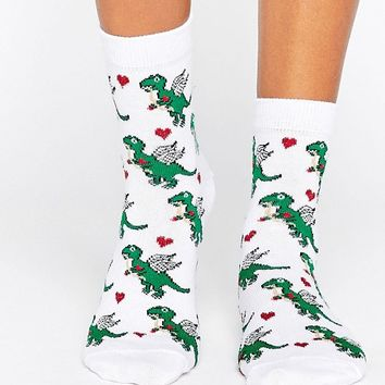 ASOS Valentines Dino Cupid Ankle Socks at asos.com