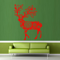 Wall decal decor decals art happy new year deer holiday decoration gift pattern santa (m666)