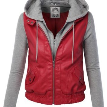 MBJ WJC176 Womens Faux Leather Zip Up Moto Jacket with Hoodie S RED