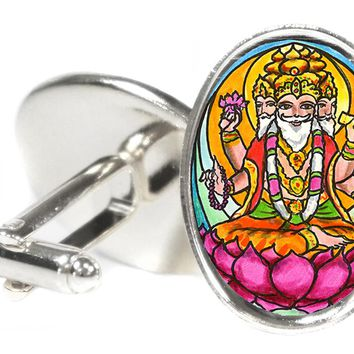 "Lord Brahma the Creator 1"" Oval Pair of Cufflinks"