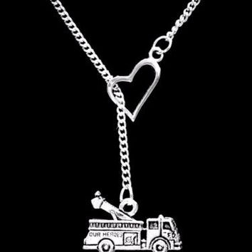 Fire Engine Truck Firefighter Gift Wife Daughter Mom Heart Lariat Necklace