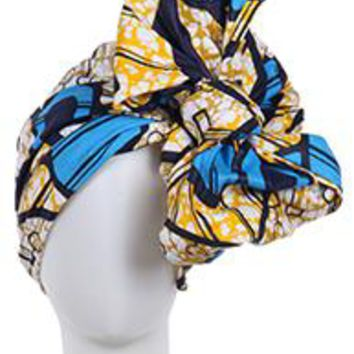 Blue/Yellow African Print Headwrap Fabric