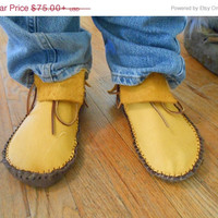 ON SALE Gold Elk/Deer Hide Short Moccasins, Traditional Buffalo Sole, Native American Custom Handmade, Handsewn, Earthing, Grounding Shoes,