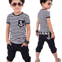 2016 Children clothing new summer new fashion kids sets boys toddler clothing Navy Striped T-shirt And Pants Suits Free shipping