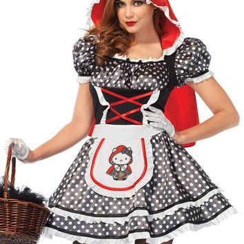 Hello Kitty Red Riding Hood,dress w/ear hood and matching bow in MULTICOLOR
