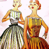 Vintage Pattern 1950s Rockabilly Dress Pattern Simplicity Misses size 16 UNCUT Full Skirt Dress with Pleated Bodice and Bow Trim