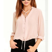 Summer Women Chiffon Button Long Sleeve Shirt Party