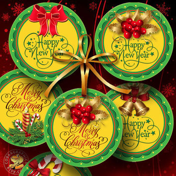 "New Year, Christmas Holiday Tags - 3"" circles - Digital Collage Sheets, Digital Downloads - Gift Hang Tags, Stickers, Cupcake Toppers CG-978"