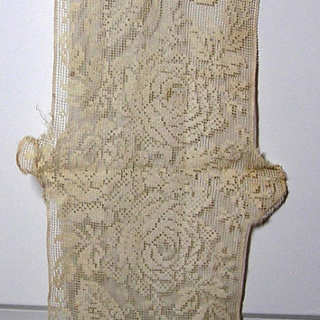 30 Inch Mantle Lace Doily, Filet Design with Roses and Butterflies in Ivory