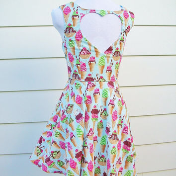 Heart Cut Out Ice Cream Print Dress - XS