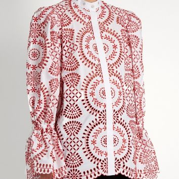 Broderie-anglaise cotton blouse | Alexander McQueen | MATCHESFASHION.COM US