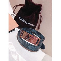 LV Louis Vuitton Classic Popular Trending Women Men Double Laps Leather High End Stainless Steel Bracelet Hand Catenary I-KMG-NPSL