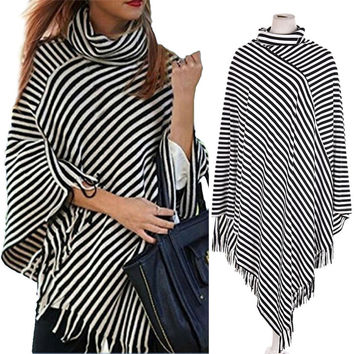 Women Casual Irregular Hem-Blouse Batwing Sleeve Tops Pullover with Tassel SM6