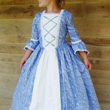 Historical Handmade Modest American Colonial Pioneer Girl -Blue Ball Gown- Child Sizes up to 14