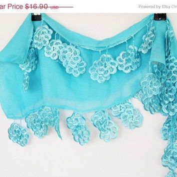 ON SALE SWEETY Cotton Scarf With Lace, Fashion, Floral Lace,  Eco-Friendly