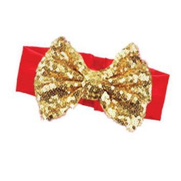 Red Gold Sequin Bow Headband