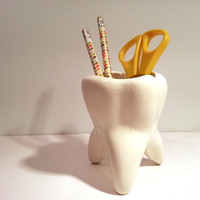 Handmade Ceramic Tooth Planter. Vintage mold updated in modern color. Gift for dentists and dental students. Perfect for desk pens & pencils