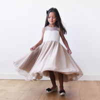 Sweetheart Champagne girls dress, Flower girls dress