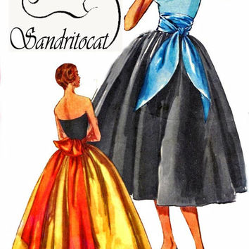 1950s Simplicity 1851 ROMANTIC Evening Skirt in Two Lengths with Cummerbund, Sashes and Overskirt 50s Vintage Sewing Pattern Size Waist 26