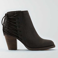 AEO Lace-Up Heeled Bootie, Black