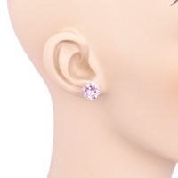 Huge 7 carat Fancy Pink Diamond 10mm sterling silver stud earrings, Man Made Diamond, Birthstone earrings
