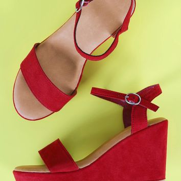 Bamboo One Band Ankle Strap Platform Wedge