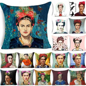 18x18 inches Square Home Decorative Pillow Cover Frida Kahlo Pattern Sofa Waist Throw Pillowcase Cushion Cover