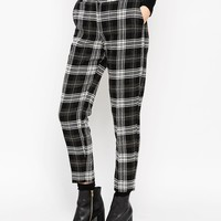 ASOS Premium Ankle Grazer Cigarette Trouser in Check