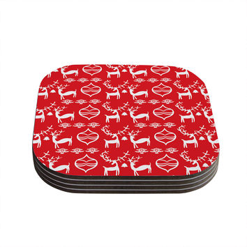 "Miranda Mol ""Antler Fun Red"" Holiday Coasters (Set of 4)"