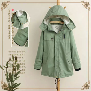 Green Cotton Removable Hooded Zipper Pocket Parkas