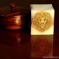 Gift for men for husband for him for boyfriend golden lion candle with wooden marquetry