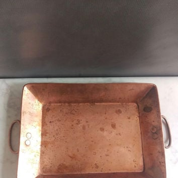 Copper tray with handles/ Vintage Copper Tray/ Rustic Copper Tray/ Copper Serving Tray/ Vintage Tray/ Primitive Copper/ Vanity Tray