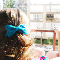 Large hair bow clip  Barrette bow Clip  turquoise blue by urBunny