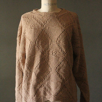 Vintage 90's Light Brown Knit Hearts Pullover Cotton Sweater by United States Sweaters, size S