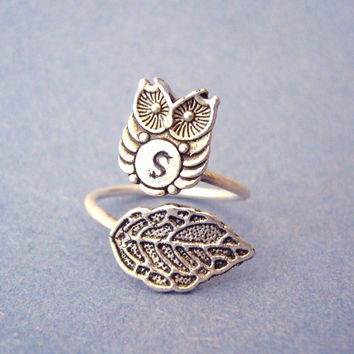 owl initials ring