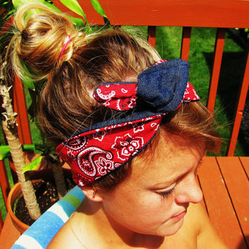 REVERSIBLE handmade dolly bow wrap headband. with or without wire.