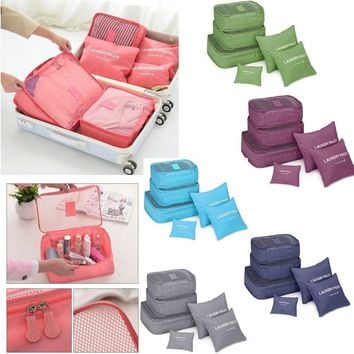 6Pcs Waterproof Clothes Storage Bags Packing Travel Luggage Organizer Pouch OLV