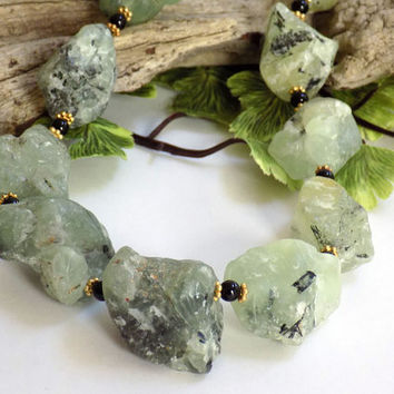 Green Necklace, Gemstone Necklace, Prehnite Necklace, Adjustable Necklace, Handmade Necklace, Handcrafted Jewelry, Nugget Necklace