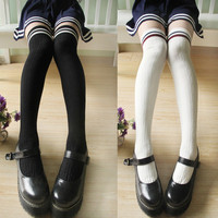 College Cotton Knee Thigh High SocksHeap Socks from HIMI'Store