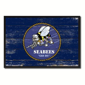 Seabees Military Flag Vintage Canvas Print with Picture Frame Home Decor Man Cave Wall Art Collectible Decoration Artwork Gifts