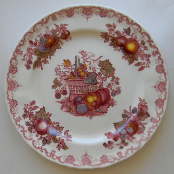 Masons English Ironstone Red Polychrome English Transferware Plate Fruit Basket Hand Painted Fruits