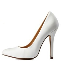 White Single Sole Almond Toe Pumps by Charlotte Russe