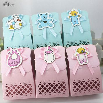 AVEBIEN Cute Baby Birthday Gift Boxes Event Party Supplies Decoration Boy and Girl Paper Baptism Kid Favors Gift Sweet Bag 24pcs
